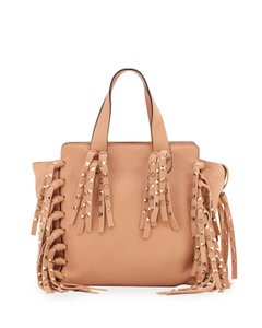 Valentino C-rockee Studded Fringe Micro Tote in Taupe