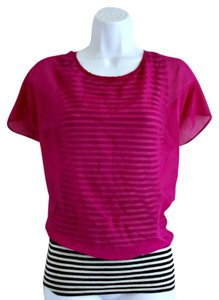 New Directions Sheer Jewel Tone Striped Stripes Top Purple