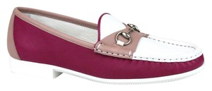 Gucci Womens Rafer Leather Horsebit White/Pink Flats
