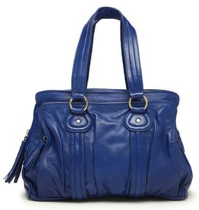 French Connection Acid Drop Leather Satchel in Blue