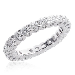 Avital & Co Jewelry 14k White Gold 2.75 Carat U-shape Share Prong Diamond Eternity Women's Wedding Band