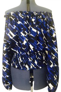 Michael Kors Off The Silk Top Cobalt Blue, Black, White