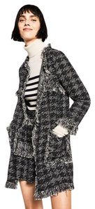 Zara Houndstooth Plaid Fringe Pattern Coat Black white Blazer