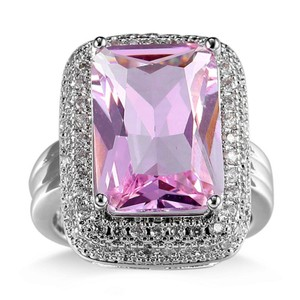 9.2.5 Giant pink ice topaz square cocktail ring size 9
