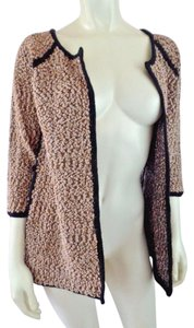 Carmen Marc Valvo Boucle Metallic 3/4 Sleeves Stretch Open Front Sweater
