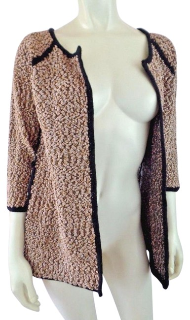 Carmen Marc Valvo Boucle Metallic 3/4 Sleeves Stretch Open Front Sweater Image 0