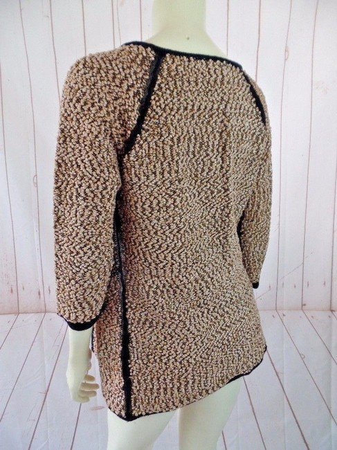 Carmen Marc Valvo Boucle Metallic 3/4 Sleeves Stretch Open Front Sweater Image 1
