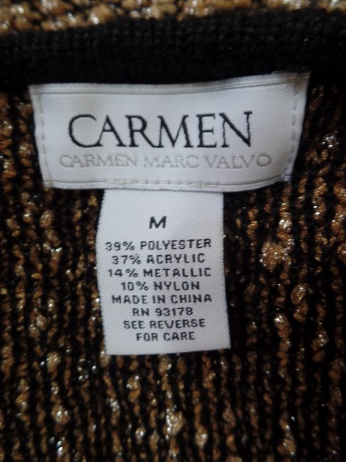 Carmen Marc Valvo Boucle Metallic 3/4 Sleeves Stretch Open Front Sweater Image 3