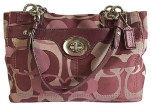 Coach Tonal Signature Satin Leather Satchel in Burgundy & Pink