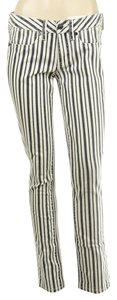 Tory Burch Striped White & Blue Legging Skinny Jeans-Light Wash