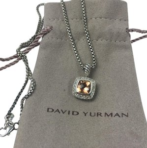 David Yurman Petite Albion Morganite & Diamond Pendant Necklace