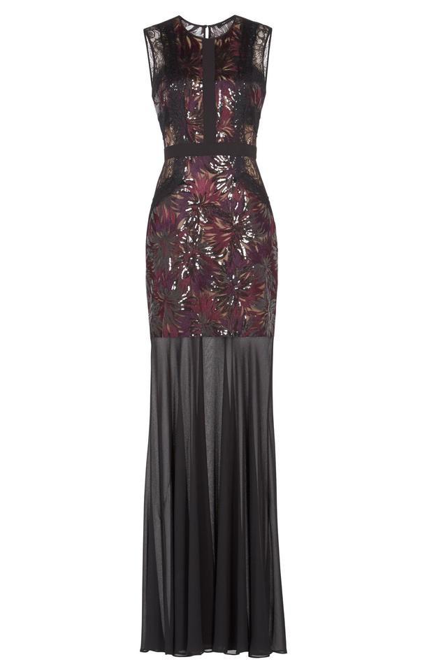 Shawna Floral BCBGMAXAZRIA Gown Dress Night Out embroidered Black Sequined qFn7Cfw
