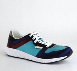 Gucci Blue/ Teal Satin Multi-color Lace-up Trainer Sneaker 11 G/ Us 11.5 336613 4160 Shoes