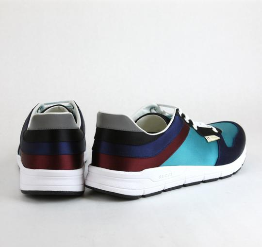 Gucci Blue/ Teal Satin Multi-color Lace-up Trainer Sneaker 11 G/ Us 11.5 336613 4160 Shoes Image 4