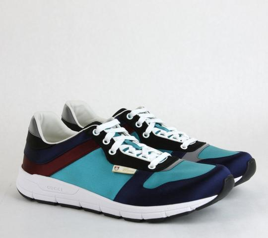 Gucci Blue/ Teal Satin Multi-color Lace-up Trainer Sneaker 12 G/ Us 12.5 336613 4160 Shoes Image 3