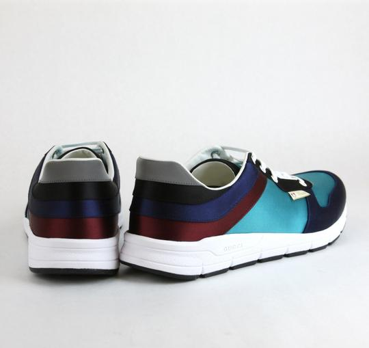 Gucci Blue/ Teal Satin Multi-color Lace-up Trainer Sneaker 12 G/ Us 12.5 336613 4160 Shoes Image 4