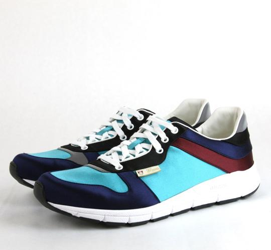 Gucci Blue/ Teal Satin Multi-color Lace-up Trainer Sneaker 12.5 G/ Us 13 336613 4160 Shoes Image 1