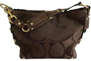 Coach Sateen Signature Studded Hardware Hobo Bag