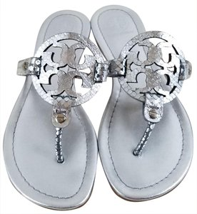 Tory Burch Flip Flops Bold Logo Cutout Metallic Leather Made In Brazil Silver Metallic Sandals