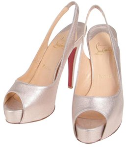 Christian Louboutin Leather Gold Laminato Pumps