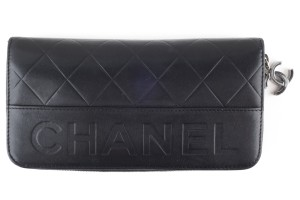 Chanel Chanel black quilted lambskin leather wallet