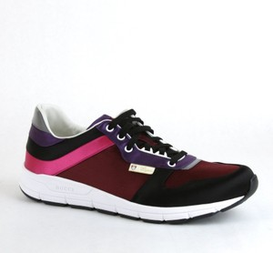 Gucci Black/ Red Satin Multi-color Lace-up Trainer Sneaker 12 G/ Us 12.5 336613 1062 Shoes