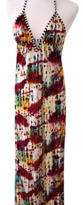 multi colored reds yellows blacks green blue Maxi Dress by T-Bags Los Angeles