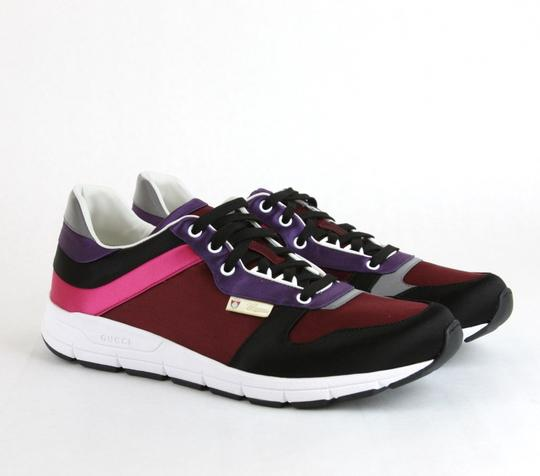 Gucci Black/ Red Satin Multi-color Lace-up Trainer Sneaker 14 G/ Us 14.5 336613 1062 Shoes Image 3