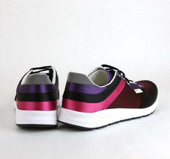 Gucci Black/ Red Satin Multi-color Lace-up Trainer Sneaker 14 G/ Us 14.5 336613 1062 Shoes Image 4