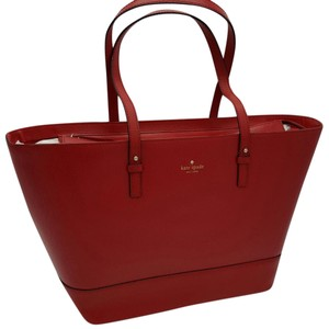 Kate Spade Harmony Large Leather Grand Street Tote in PILLBOX RED