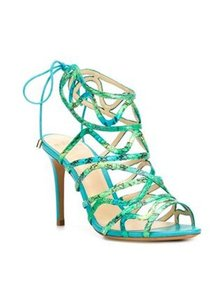 Alexandre Birman Cage Lace Up Feminine Turquoise Sandals