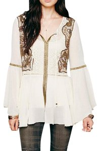 Free People Festival Peasant Off Swing Embroidery Festival Lace Trim Chic Classic Tunic