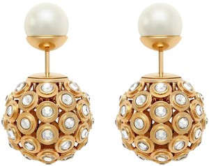 Dior DIOR Tribal Faux Pearl Crystal Gold-toned Earrings