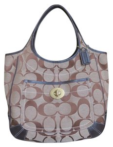 Coach Large Leather Trimmed Signature Fabric Tote in brown
