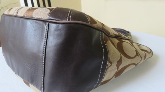 Coach Large Leather Trimmed Signature Fabric Tote in brown Image 3