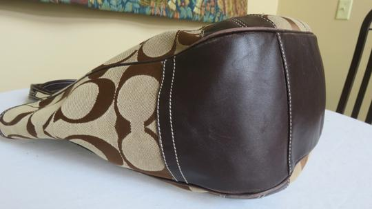 Coach Large Leather Trimmed Signature Fabric Tote in brown Image 4