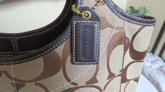 Coach Large Leather Trimmed Signature Fabric Tote in brown Image 8