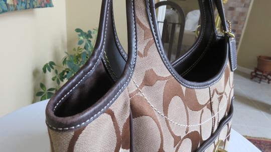 Coach Large Leather Trimmed Signature Fabric Tote in brown Image 9