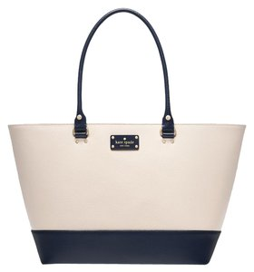 Kate Spade Harmony Large Leather French Navy Tote in PEBBLE/FRENCH NAVY