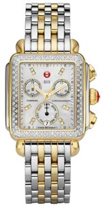 Michele NEW Authentic Deco Diamond Dial Two Tone Gold MWW06P000108 Watch