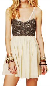 Free People short dress Beige Bohemian Embroidered Metallic Cocktail Fit And Flare Gold Sequined on Tradesy