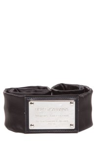 Dolce&Gabbana Dolce & Gabbana Black Stretch Satin Belt With Square Silver Logo