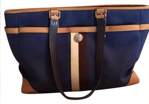 Coach Navy blue with brown and ivory stripe Diaper Bag