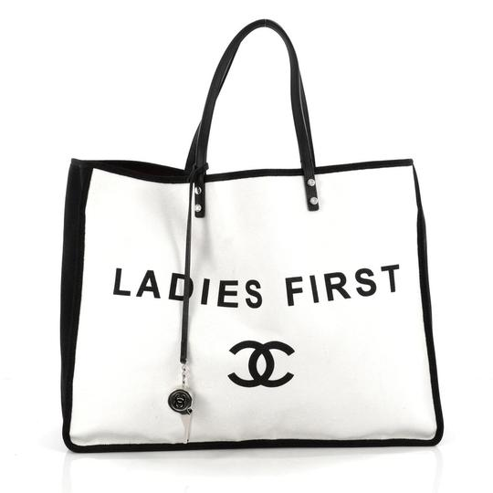 Preload https://img-static.tradesy.com/item/20774077/chanel-ladies-first-large-white-canvas-tote-0-1-540-540.jpg