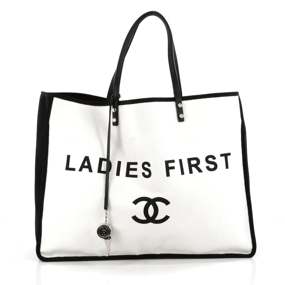 chanel ladies first large white canvas tote tradesy