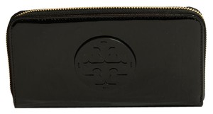 Tory Burch Stacked Zip Around Patent Leather Continental Wallet, Black