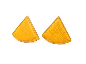 Hermès Clip-on Earrings Leather Triangle Yellow Gold Tone w/ Gift Box