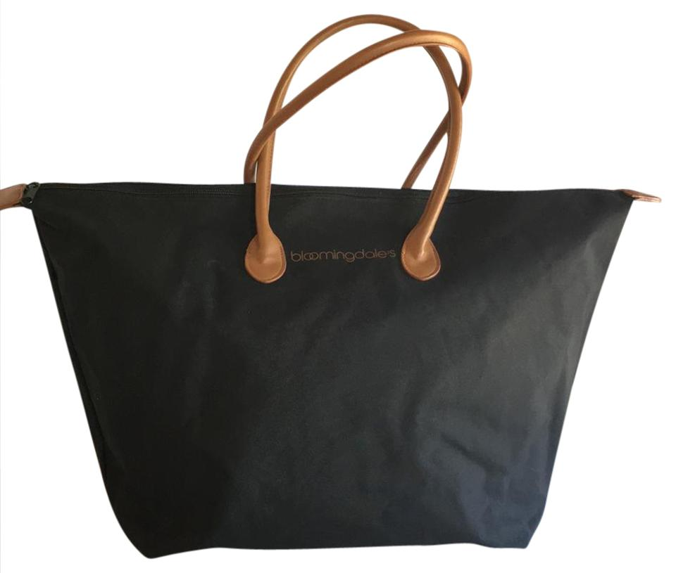 2dff6dae82819 Bloomingdale's Zip Top Travel Travel Black Nylon and Leather Tote ...