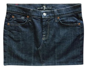 7 For All Mankind Mini Jean Jeans Mini Skirt Dark Wash