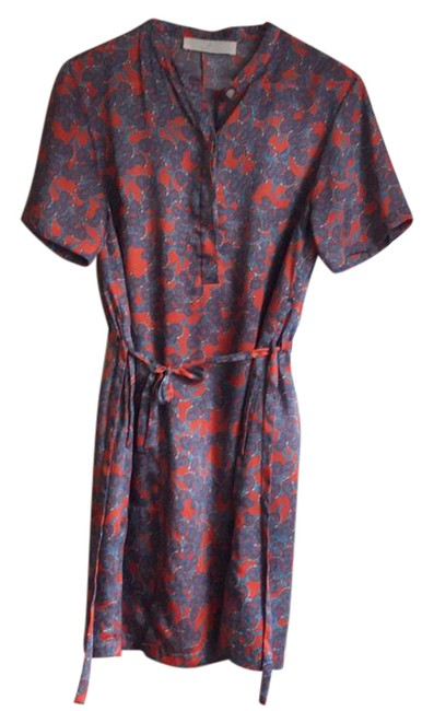 Item - Orange Blue Printed Silky Mid-length Short Casual Dress Size 4 (S)